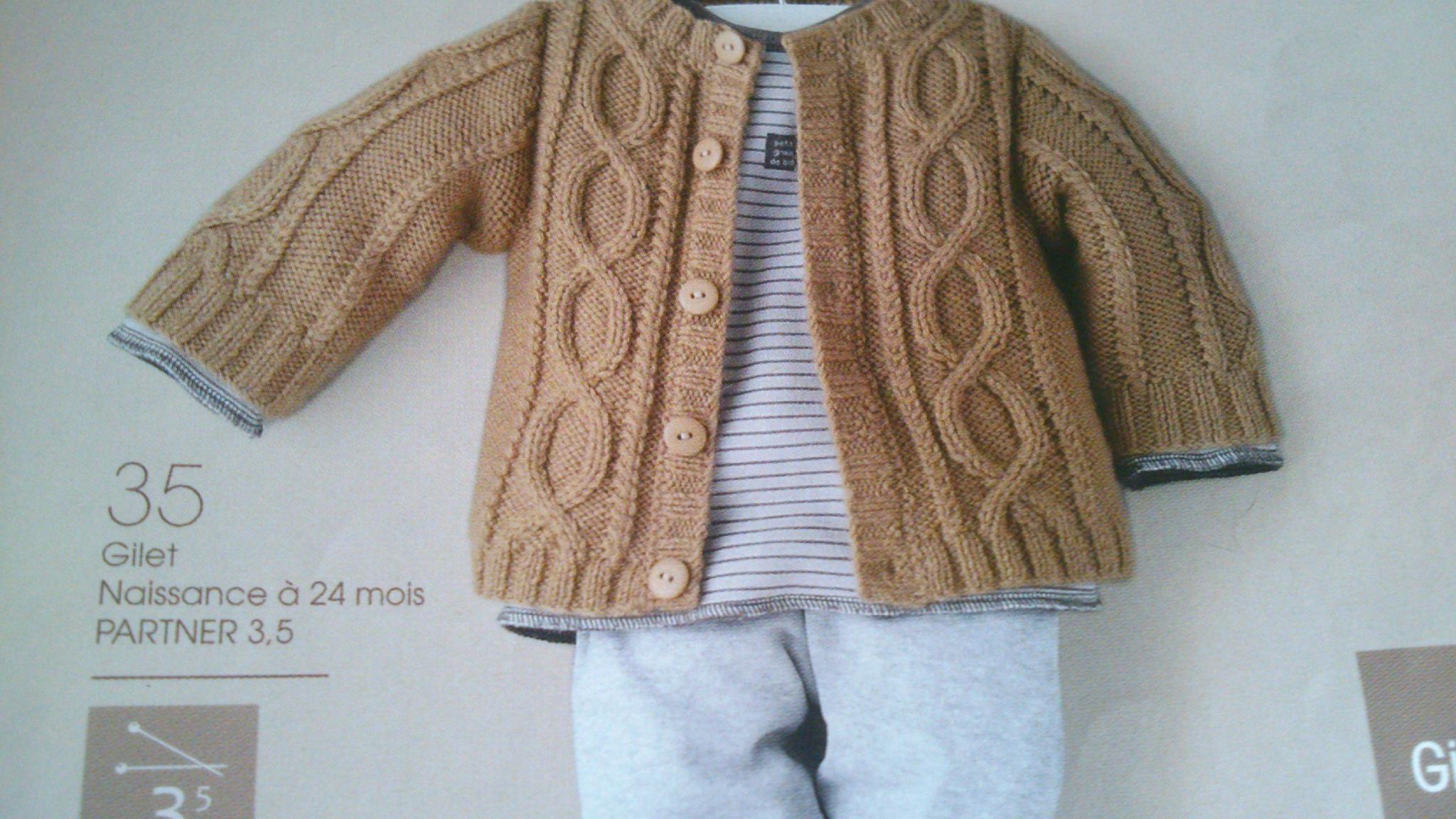 Préférence Modele tricot gilet bebe 6 mois - Chapka, doudoune, pull  ZQ06