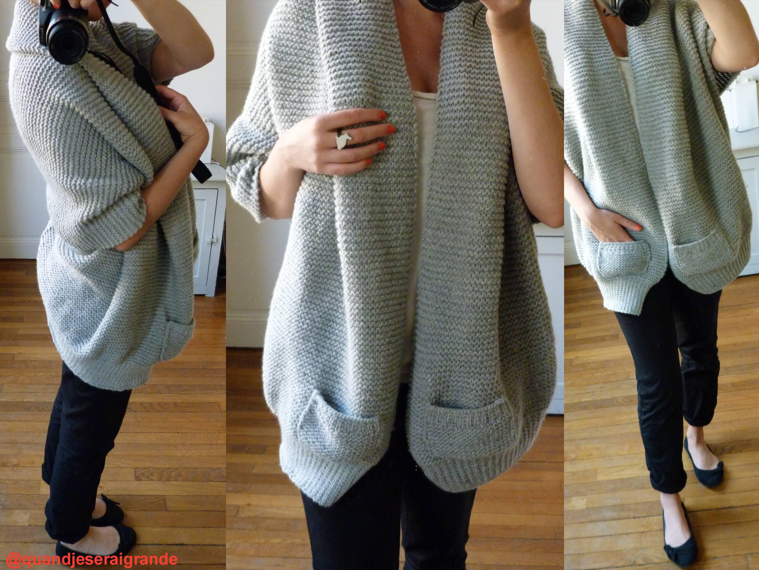 Très Modele tricot gilet femme grosse laine - Chapka, doudoune, pull  UR86