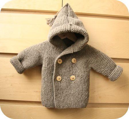 tricoter gilet bebe avec capuche chapka doudoune pull vetement d 39 hiver. Black Bedroom Furniture Sets. Home Design Ideas
