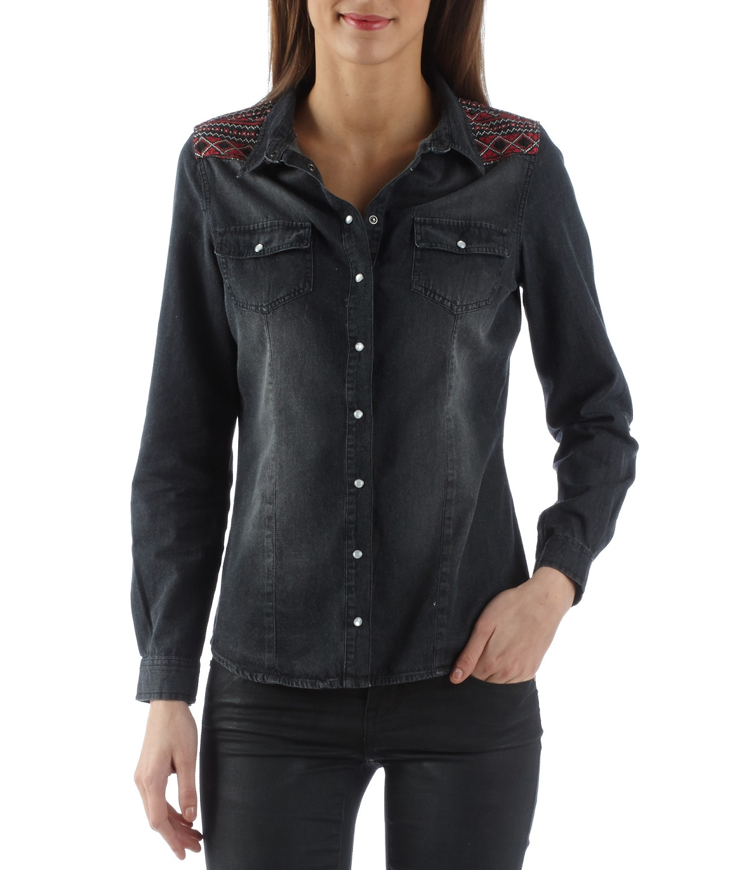 Chemise en jean grise femme   Getupandgo 370e4619ac62