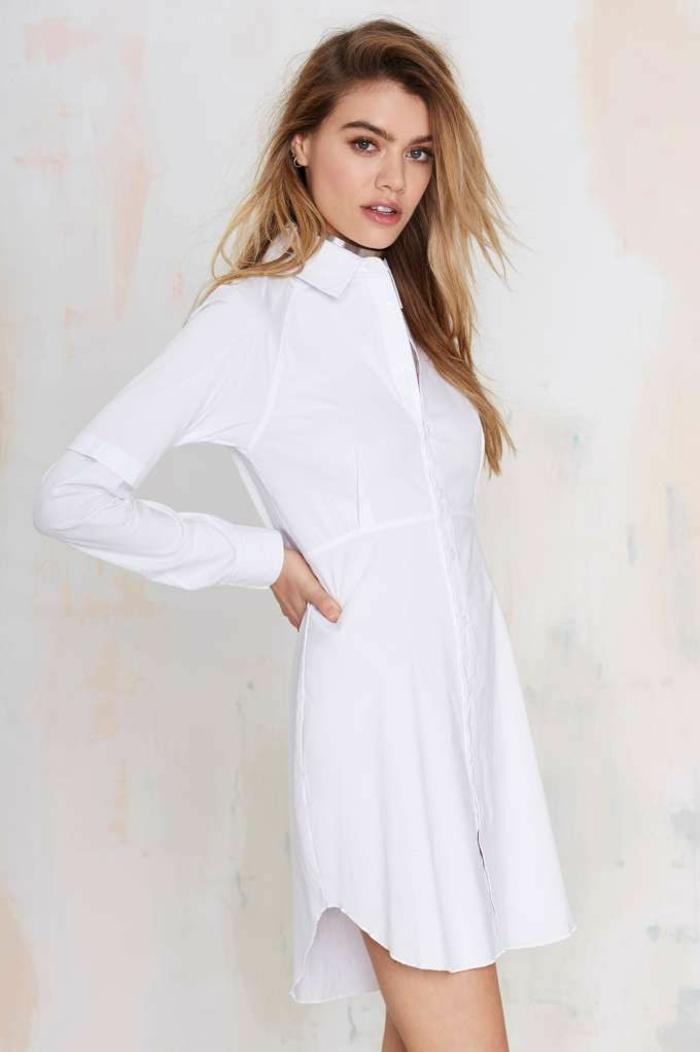 Souvent Chemise longue femme blanche - Chapka, doudoune, pull & Vetement d  KX28