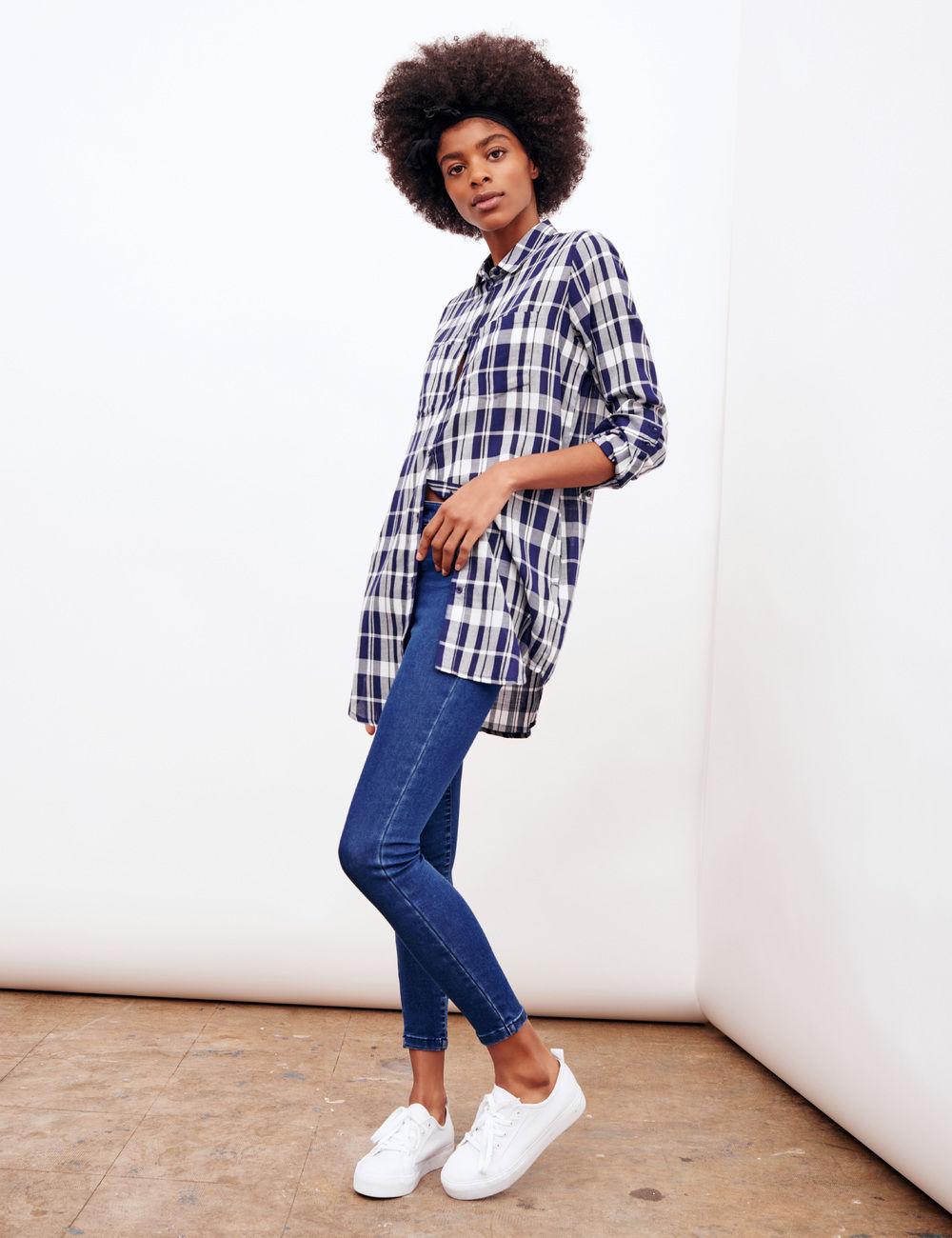 Chemise longue à carreaux femme   Sodeports 55674012910