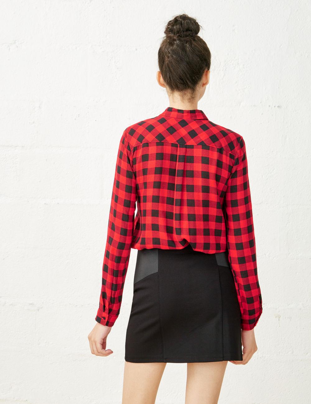 Chemise Rouge Et Noir A Carreaux Femme Electrogagnant