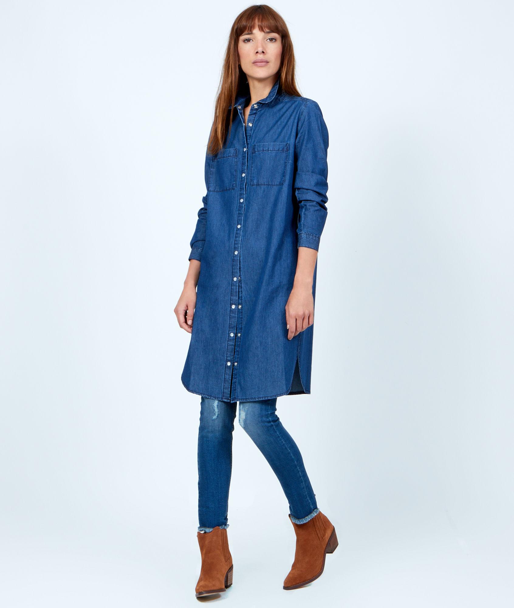 Chemise Jean Longue concernant longue chemise en jean - chapka, doudoune, pull & vetement d'hiver