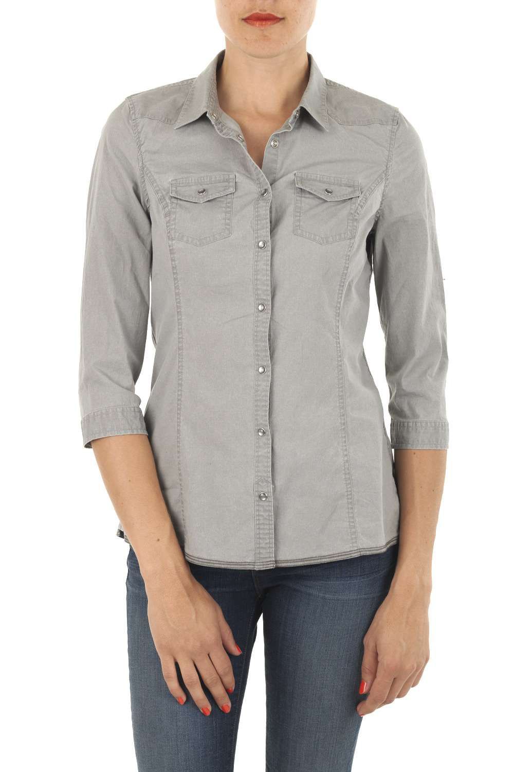 Chemise jean grise femme   Sodeports 78cf757bcabb