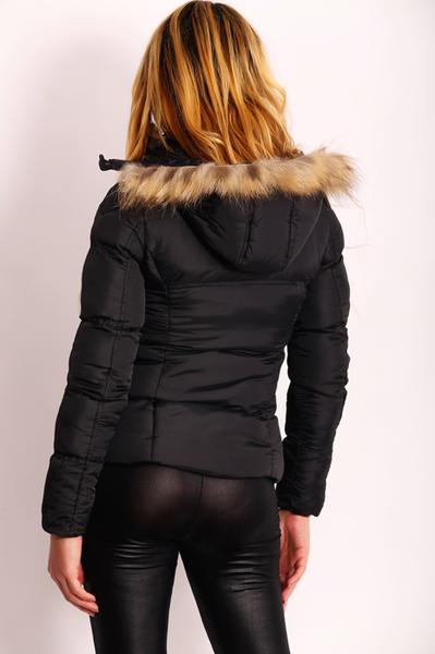 3b0da71b5c15 Je veux trouver une doudoune de marque femme qui tient chaud pas cher ICI Doudoune  noir fourrure femme pas cher