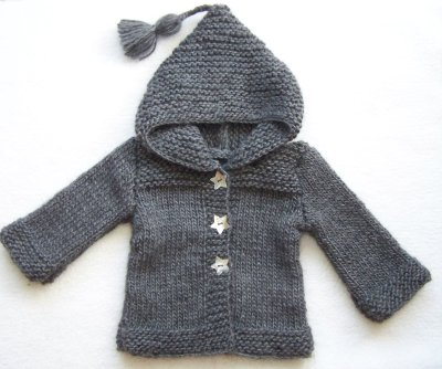 modele tricot manteau capuche bebe