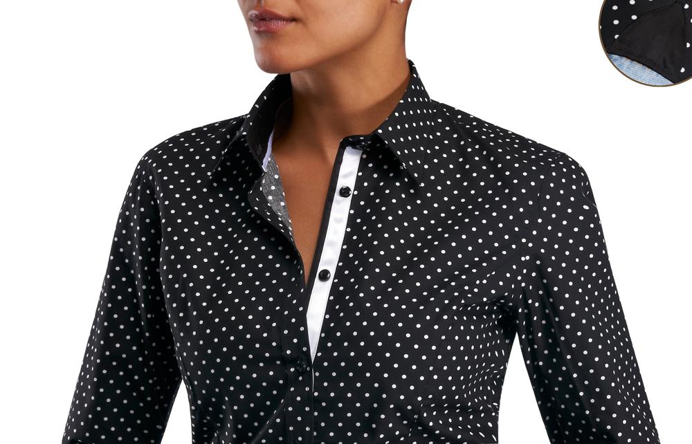 Je veux trouver une belle chemise femme et agréable à porter pas cher ICI  Chemise noire a pois blanc femme bab171118282