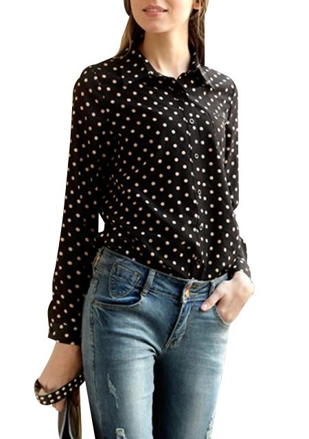 Je veux trouver une belle chemise femme et agréable à porter pas cher ICI  Chemise a pois pour femme b8a8449a4b2d