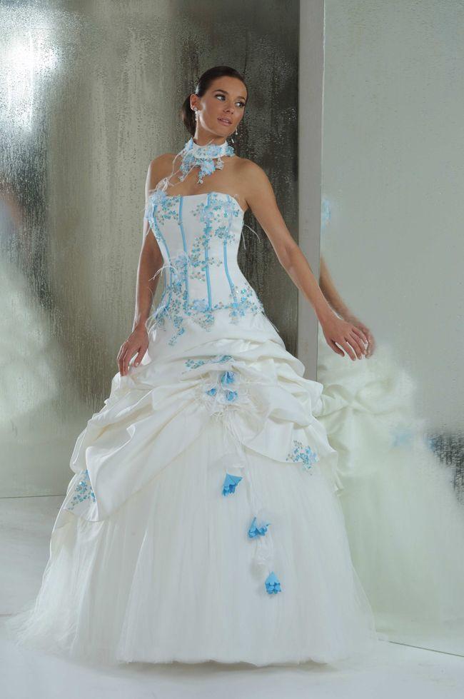 Robe de mariee blanc bleu turquoise