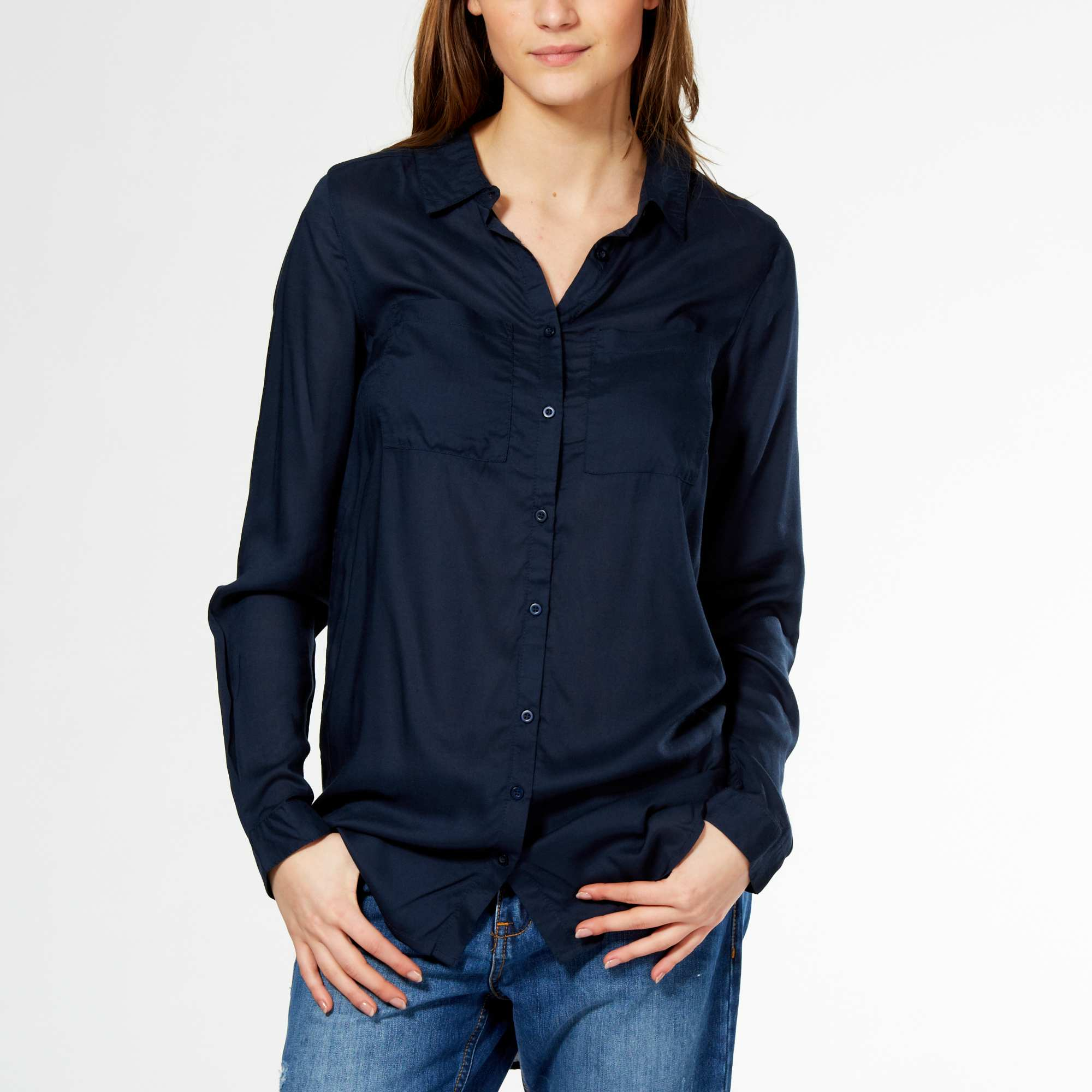 Chemise bleu marine femme - Chapka, doudoune, pull   Vetement d hiver b46cf05400dd
