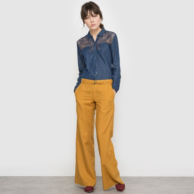 5dc7661d37419 Je veux trouver une belle chemise femme et agréable à porter pas cher ICI  Chemise jean et dentelle