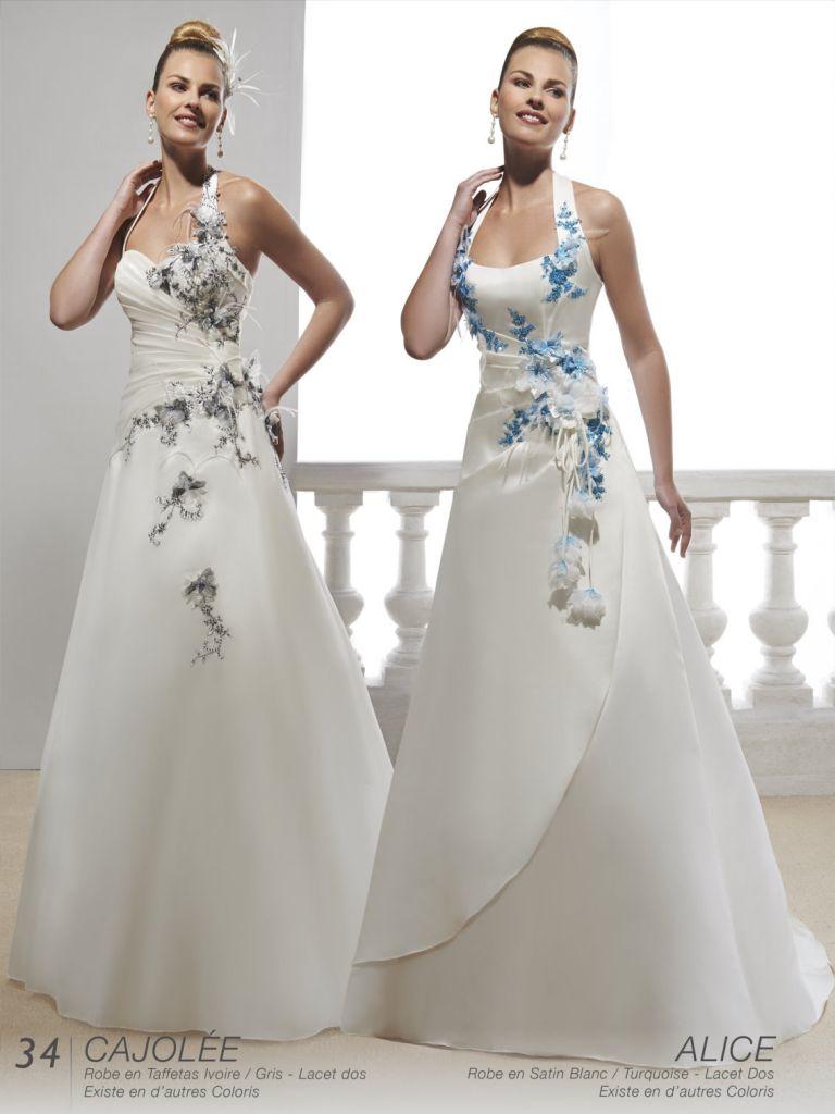 b6e21debc084 Robe de mariée blanche et bleu turquoise - Chapka