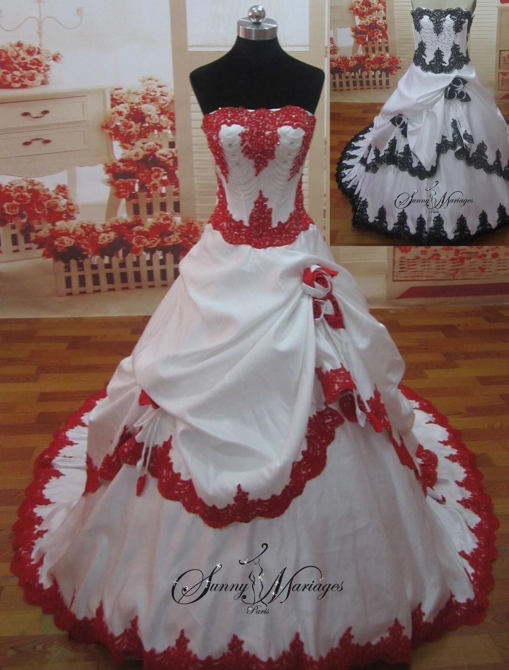 Robe de mariee rouge blanche pas cher